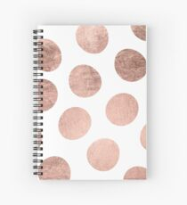 Modern faux rose gold hand drawn polka dots Spiral Notebook
