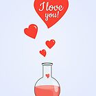 Flask of Hearts Valentine Card by Boriana Giormova