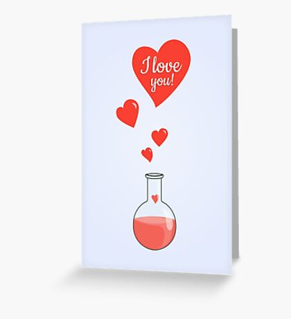 Flask of Hearts Valentine Card Greeting Card