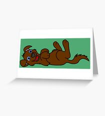 Brown Dog - Roll Over Greeting Card