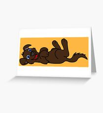 Chocolate Dog - Roll Over Greeting Card