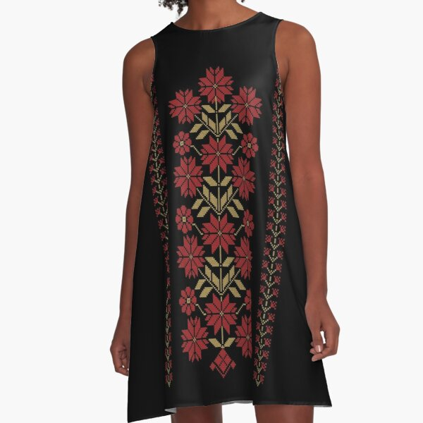 Traditional Tatreez Embroidery Flowers Design 9 red-gld A-Line Dress