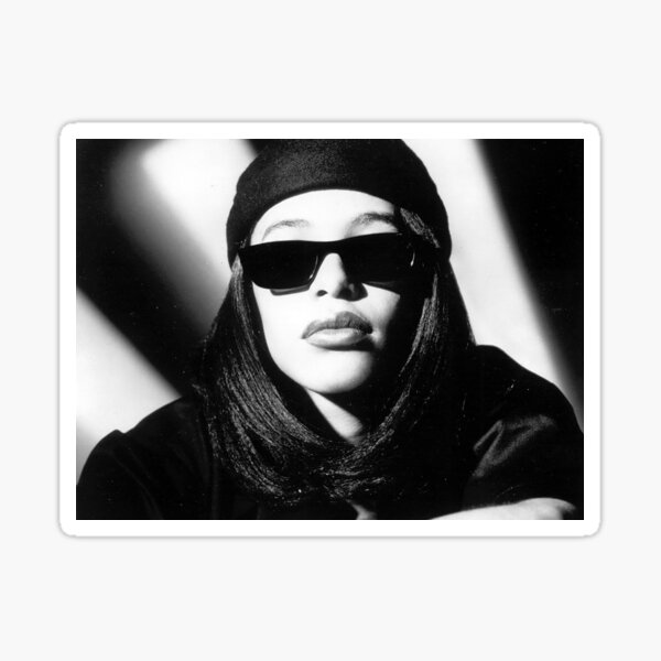 Aaliyah Printed T-shirt Black Tee Shirt Sticker