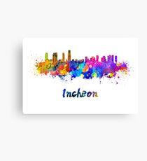 Incheon skyline in watercolor Canvas Print