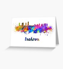 Incheon skyline in watercolor Greeting Card
