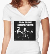 Lets play PULP FICTION Women's Fitted V-Neck T-Shirt