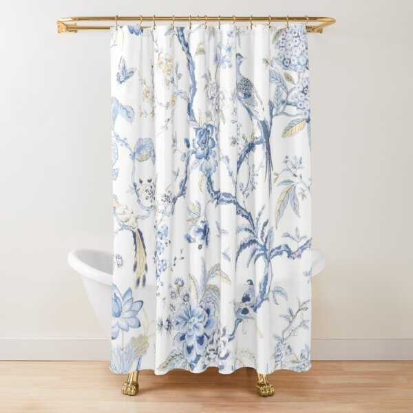 French Chinoiserie Toile Birds Shower Curtain