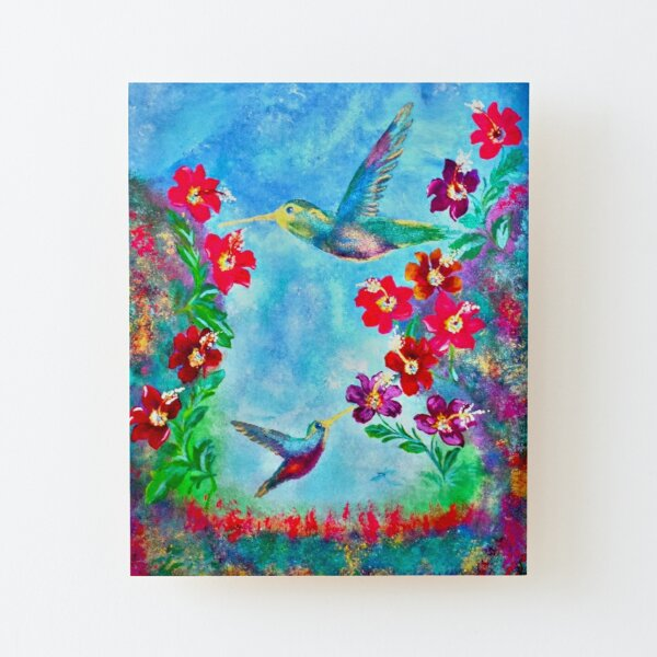 Paradise In Heaven Painting By Concetta Ellis Hummingbirds Wood Mounted Print
