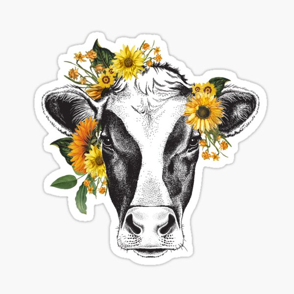 Cow Sunflower Sticker
