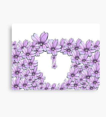 flower pink in heart Canvas Print