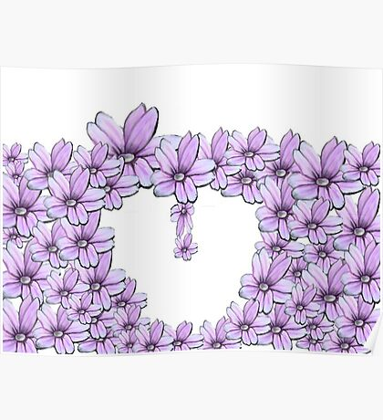 flower pink in heart Poster