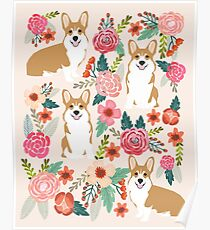 Corgi floral flowers spring garden nature pet pets friendly cute puppy corgis welsh corgi dog Poster