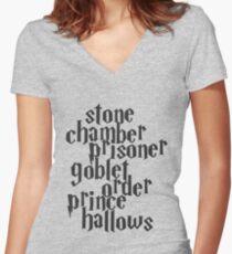Stone Chamber Prisoner Goblet Order Prince Hallows Women's Fitted V-Neck T-Shirt