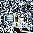 House With Yellow Door in Winter by Susan Savad