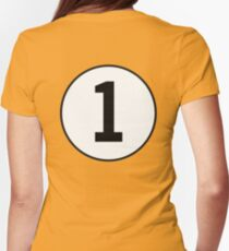 1, First, ONE, Number One, Number 1, Racing, Numero Uno, on Navy Blue Womens Fitted T-Shirt