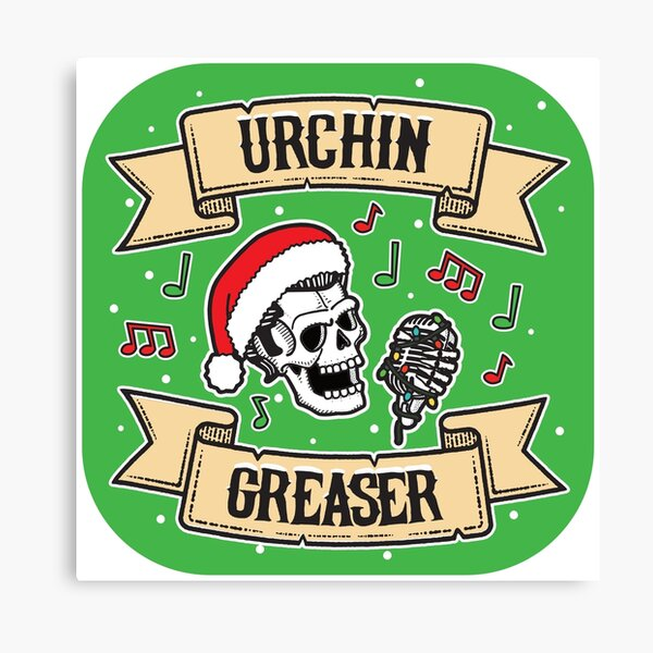 Xmas Urchin Greaser Rockabilly Logo  Canvas Print