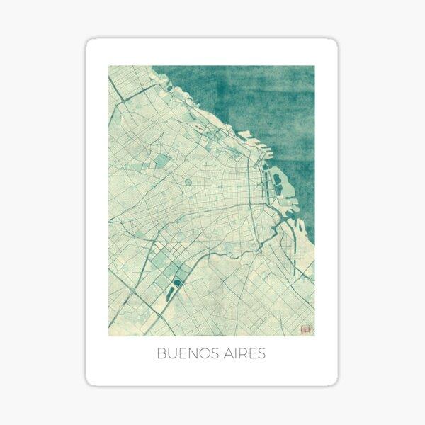 Buenos Aires Map Blue Vintage Sticker