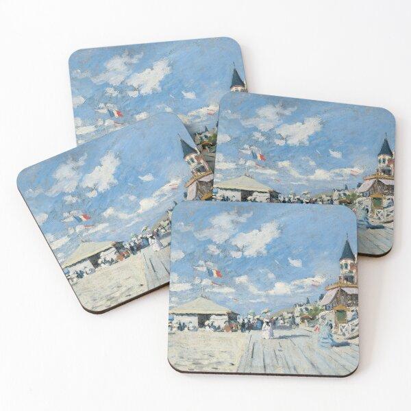 Claude Monet - The Boardwalk on the Beach at Trouville (Sur les planches de Trouville) 1870 Coasters (Set of 4)