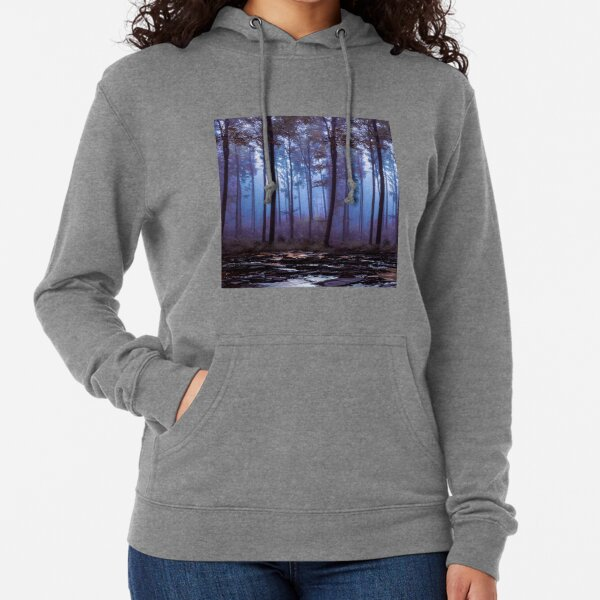 Magic forest and lake landscape Lightweight Hoodie