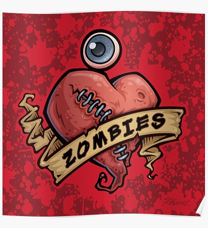 I Love Zombies... with Blood Poster