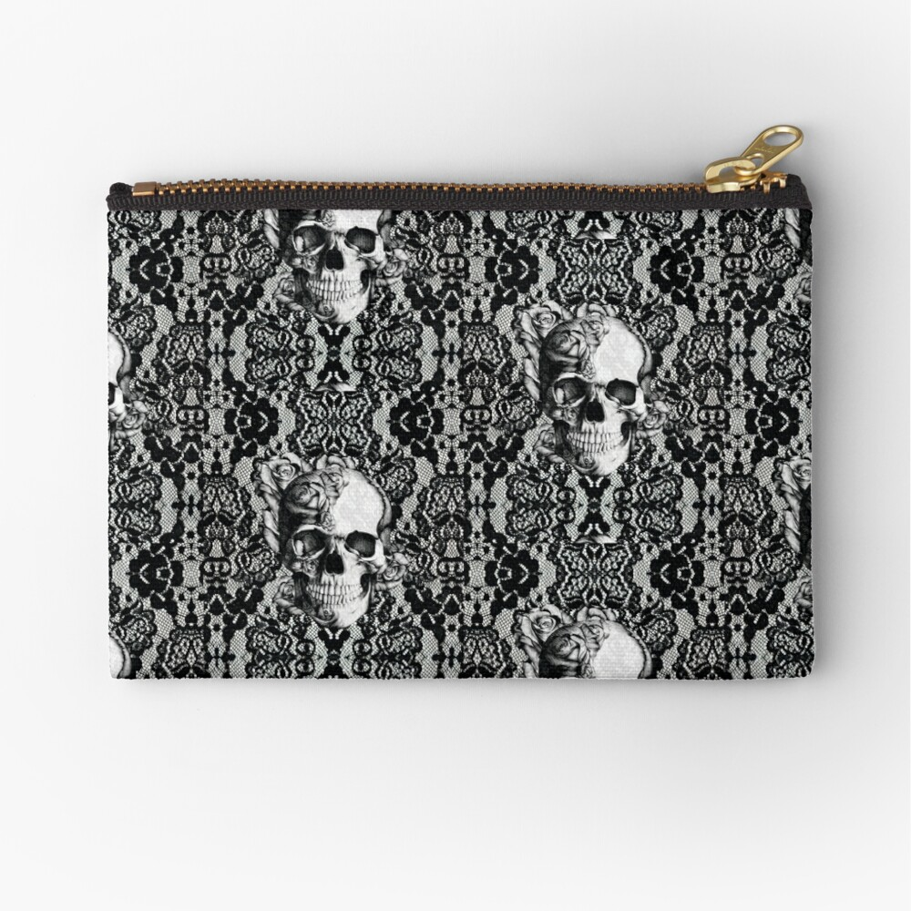 Gothic Lace skull Zipper Pouch