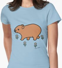 Walking Wombat with White Flowers Women's Fitted T-Shirt