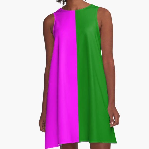 Green and Pink A-Line Dress