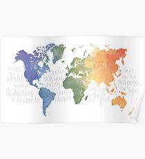 Walter Mitty Lebensmotto - Weltkarte Poster