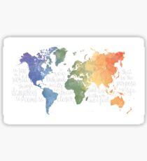 Walter Mitty Life Motto - World Map Sticker