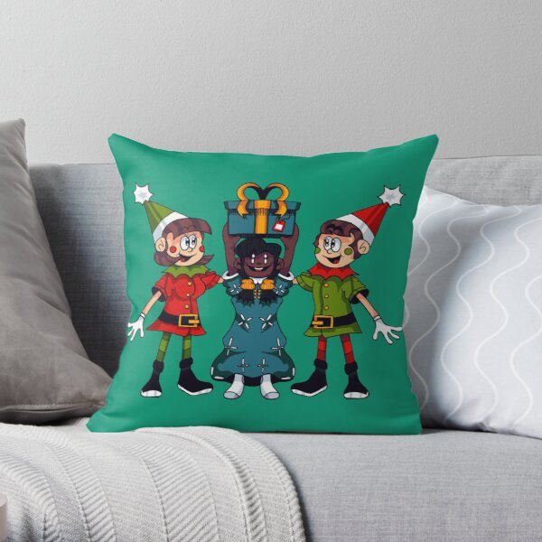 Elves and Child - Santa Playland Throw Pillow