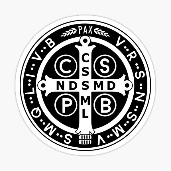 Saint Benedict Medal Black White Sticker