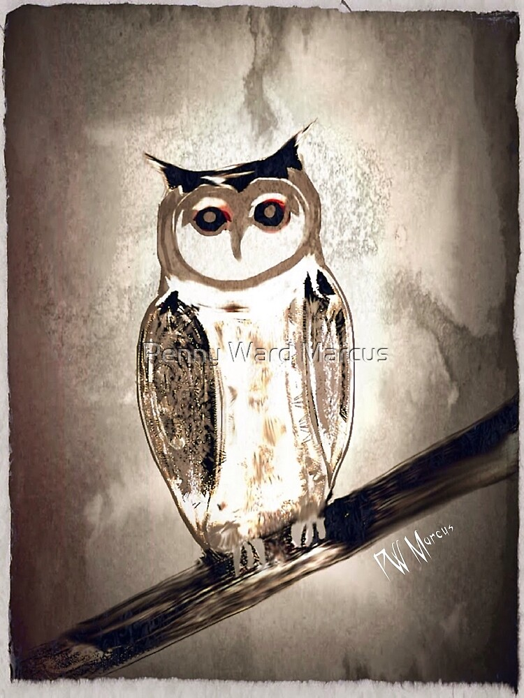 Owl on Branch (paper effect) by Penny Ward Marcus