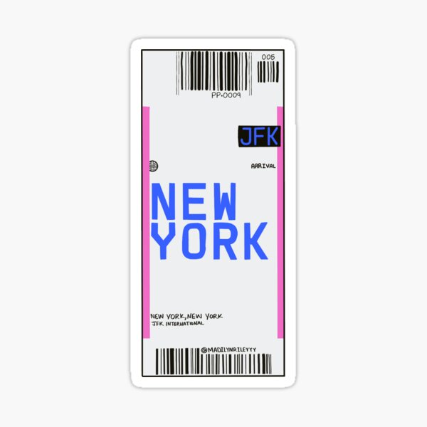 New York plane ticket Sticker