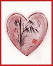 Sacred Love - Colored Pencil Heart Drawing by Rebecca Rees