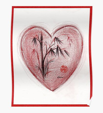 Sacred Love - Colored Pencil Heart Drawing Poster