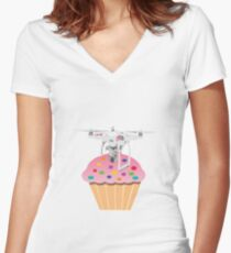 Cute Cupcake Drone Women's Fitted V-Neck T-Shirt