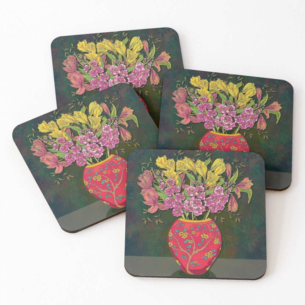 Red Vase with Flowers Coasters (Set of 4)