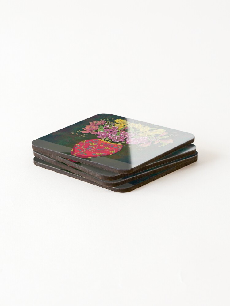 Alternate view of Red Vase with Flowers Coasters (Set of 4)