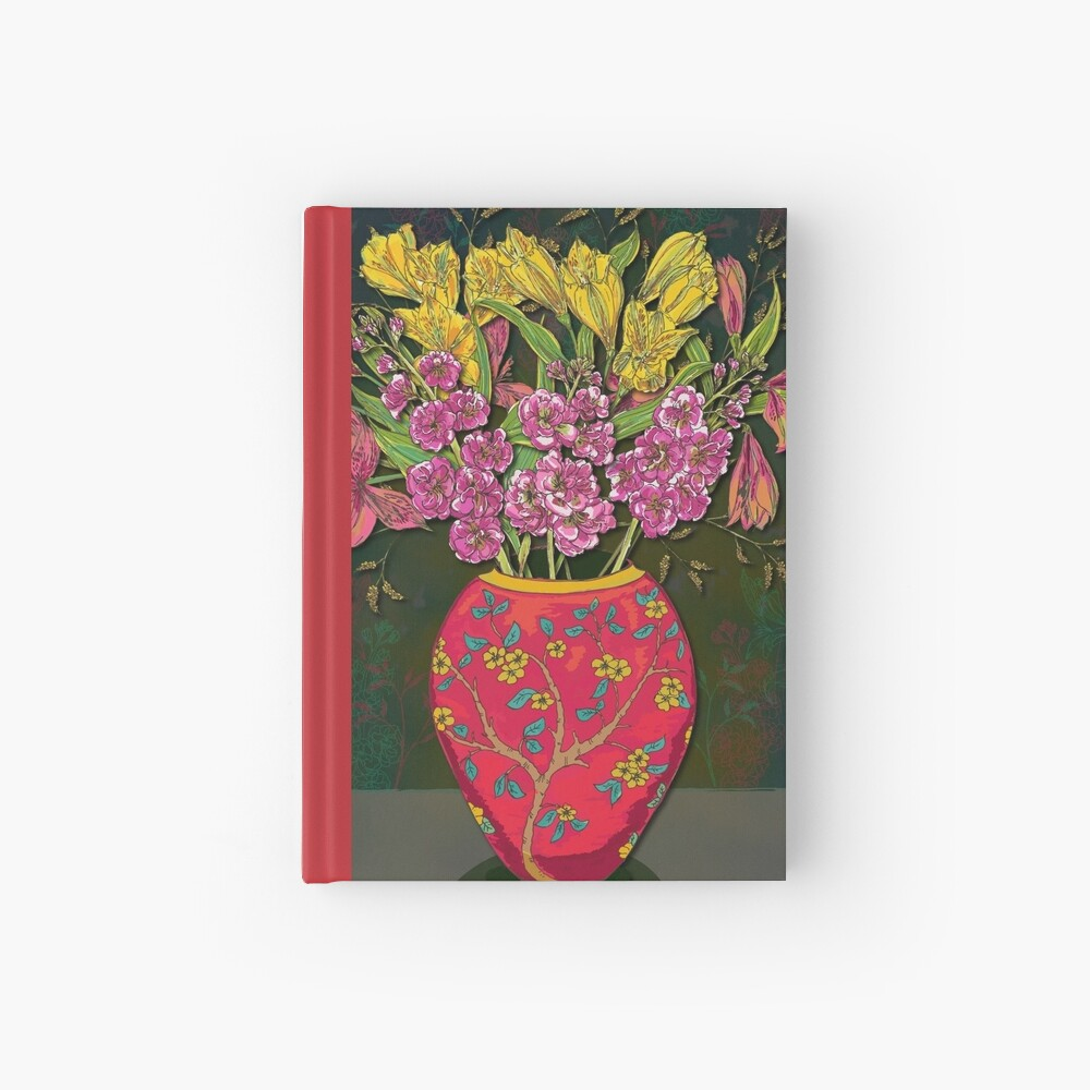 Red Vase with Flowers Hardcover Journal