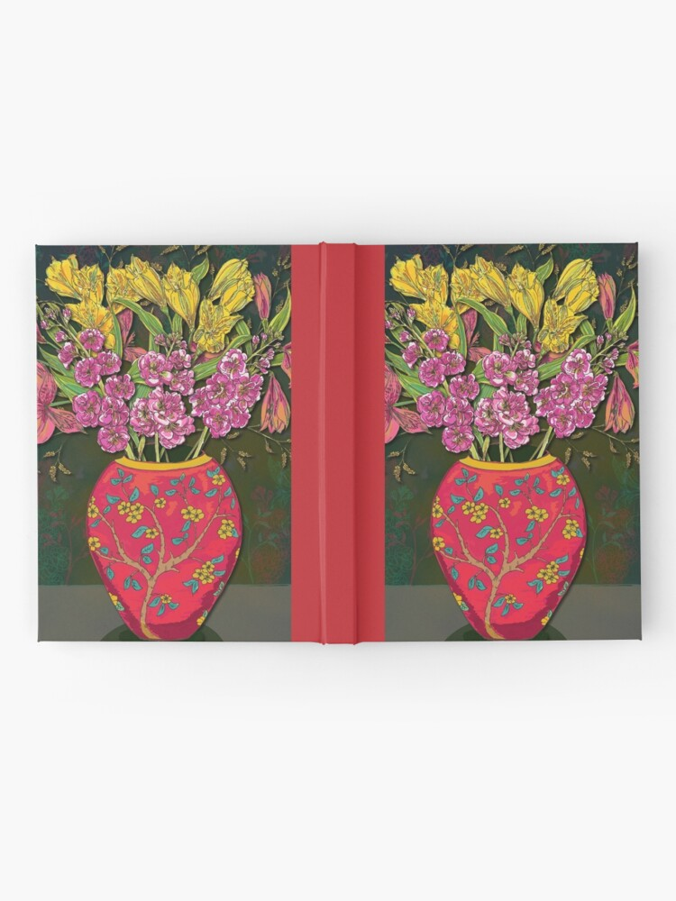 Alternate view of Red Vase with Flowers Hardcover Journal