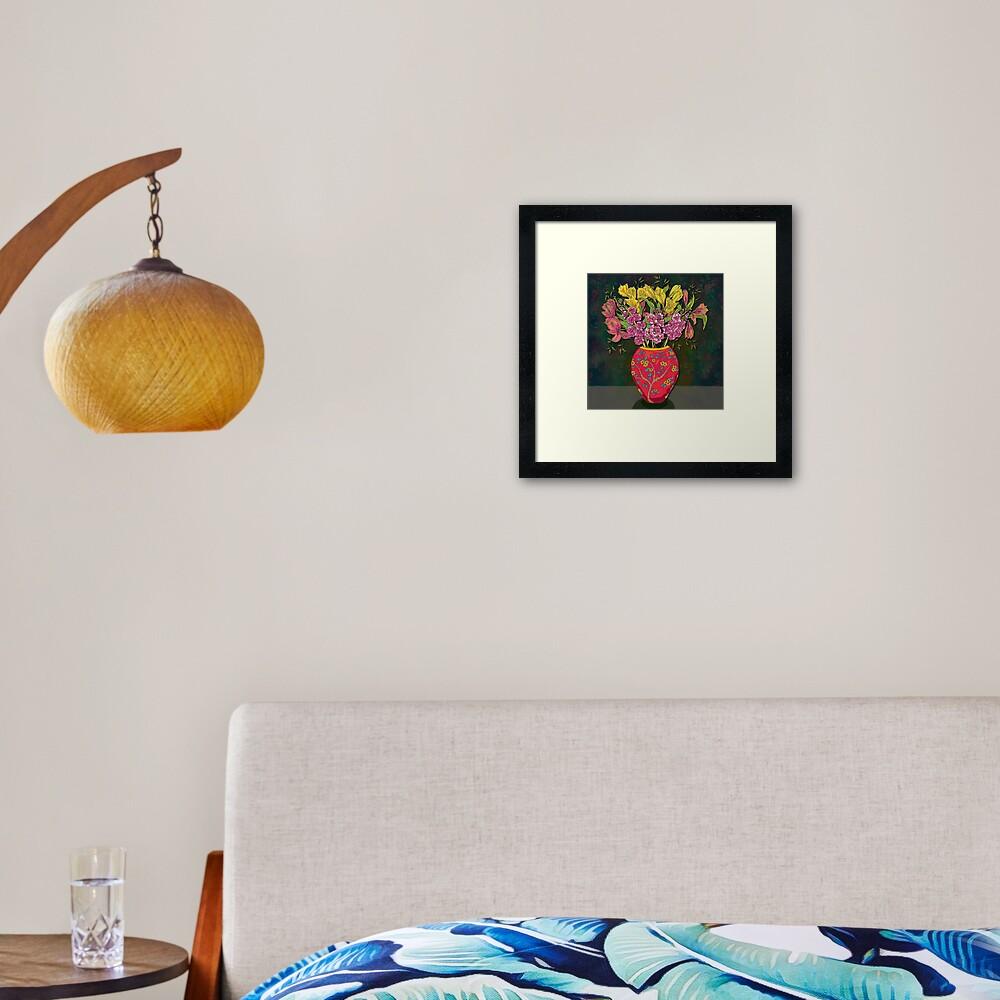Red Vase with Flowers Framed Art Print
