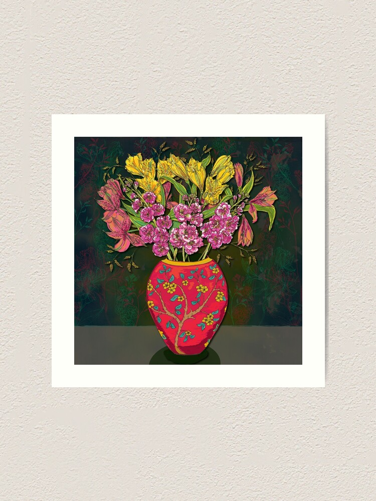 Alternate view of Red Vase with Flowers Art Print