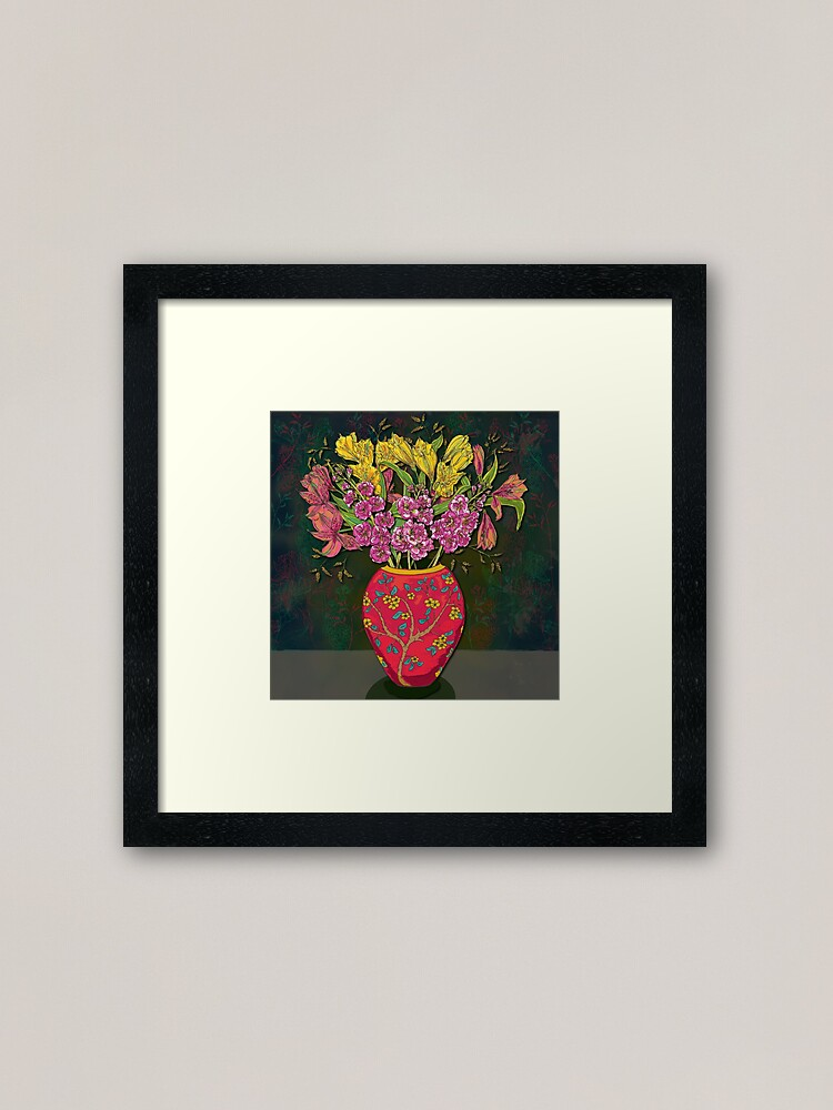 Alternate view of Red Vase with Flowers Framed Art Print