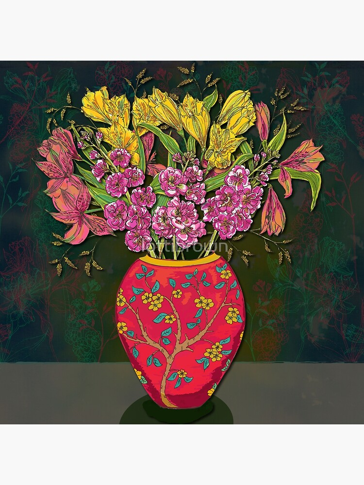 Red Vase with Flowers by lottibrown