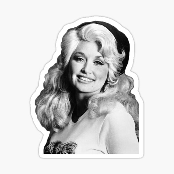 Dolly Parton Half Body (Black and White) Sticker