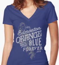 Orange & Blue Forever Women's Fitted V-Neck T-Shirt
