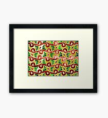 Indonesian Batik, fern pattern, green, brown, red Framed Print