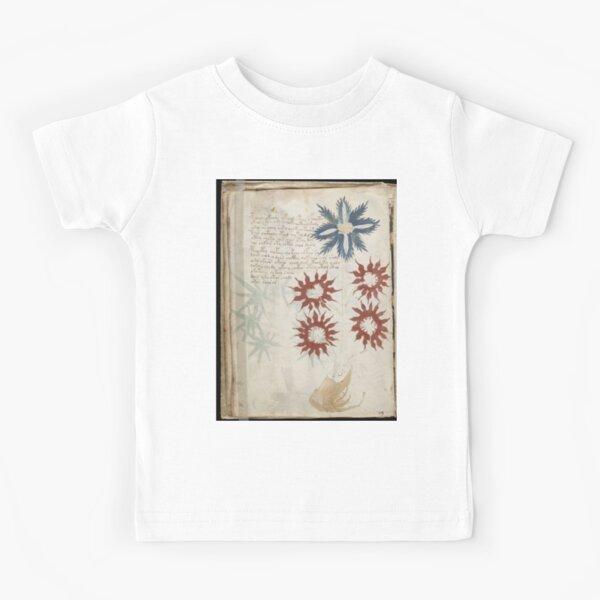 Voynich Manuscript. Illustrated codex hand-written in an unknown writing system Kids T-Shirt