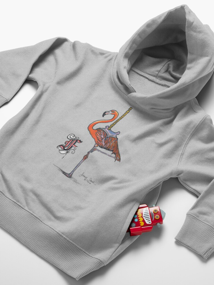 Alternate view of F is for Flamingo! Toddler Pullover Hoodie