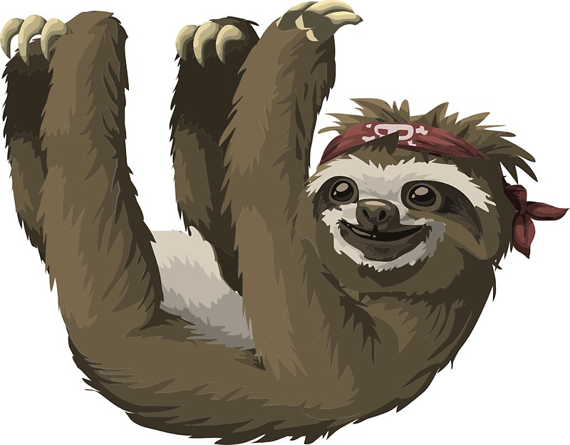 Cute sloth with skull bandana by critterville